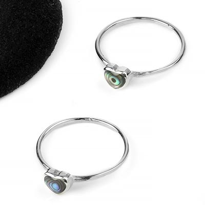 Silver and Abalone Heart Ring