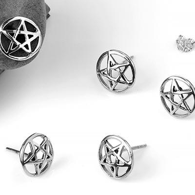 Silver Pentagram Stud Earrings