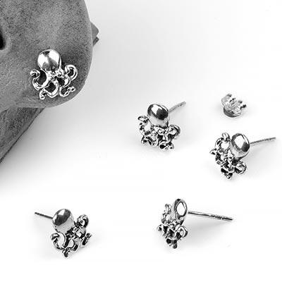Silver Octopus Stud Earrings