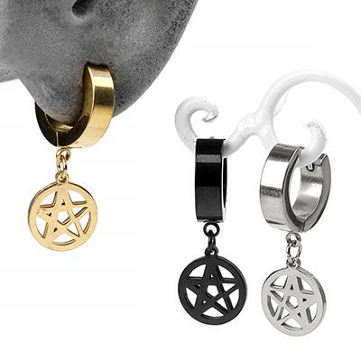 Steel Pentagram Dangle Huggie Earring