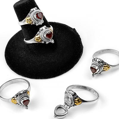 Silver and Garnet Heart Poison Ring