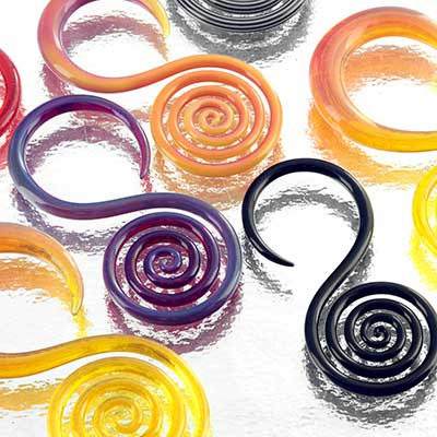 Pyrex Glass Spiral Hoops