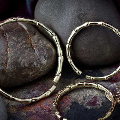 Solid Brass Bamboo Hoops