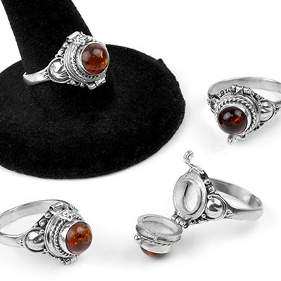 Silver and Amber Poison Ring