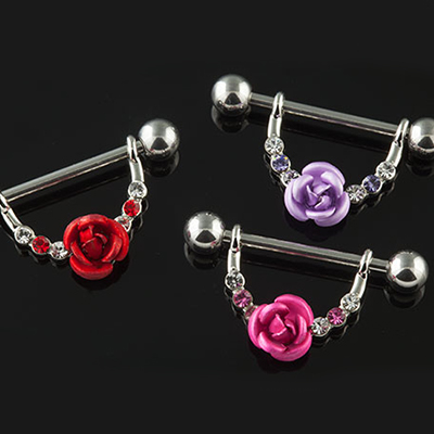 Rose and gems nipple stirrup
