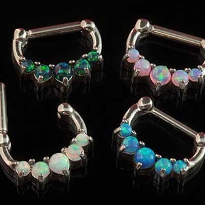 Prong Set Five Opal Septum Clicker