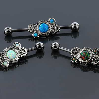 Synthetic Opal Steampunk Gears Industrial Barbell Set