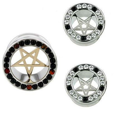 PRE-ORDER Steel Gemmed Eyelet with Pentagram