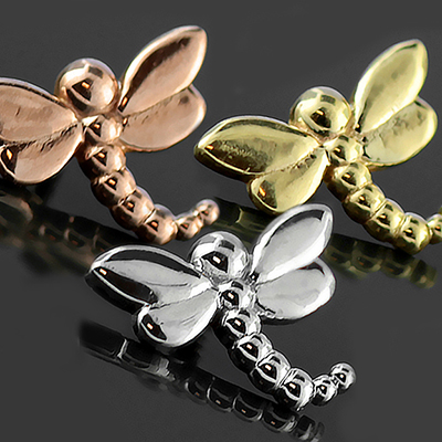 14k Gold Dragonfly Threaded End