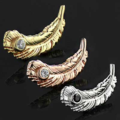 14k Gold Feather with Stone Inlay Threaded End