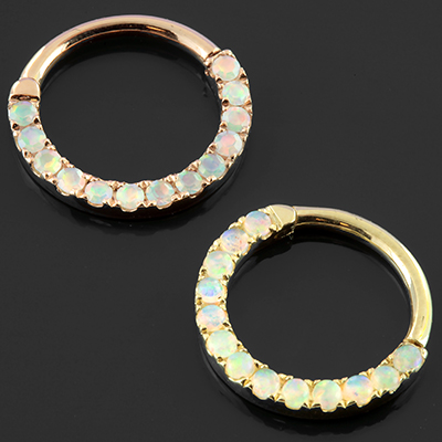 14k Gold Eternity Opal Clicker