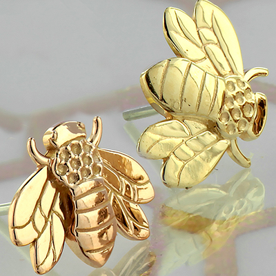 14k Gold Bumble Bee Threadless End