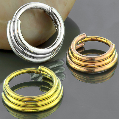 Titanium Triple Septum Clicker Ring
