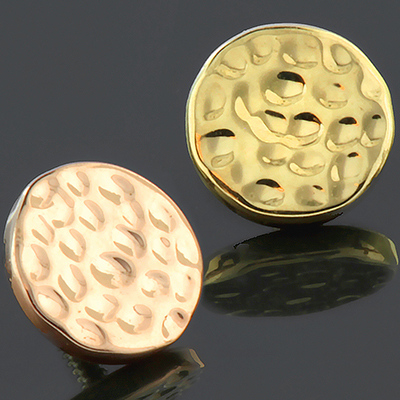 14k Gold Hammered Disc Threaded End
