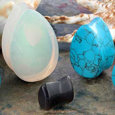 Stone and Glass Teardrop Plug