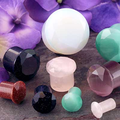 Single Flare Faceted Stone and Glass Plug