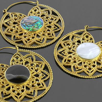Brass Mandala Hoop Earrings with Inlays