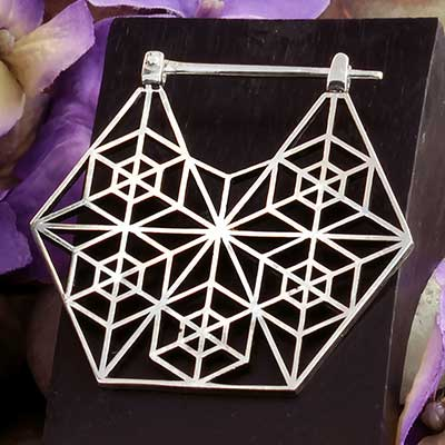 Solid White Brass Tetrahedron Hoops (Titanium Clasp)