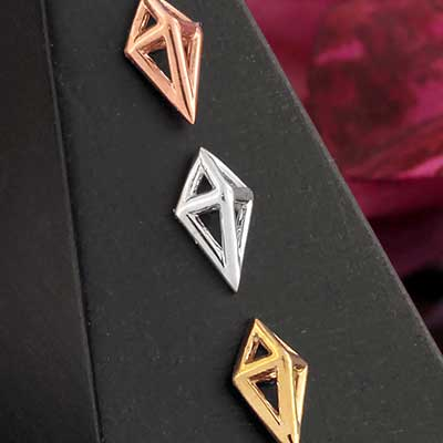 Solid 14k Gold Diamond Cube Threadless End