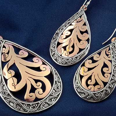 Silver and Copper Swirl Jewelry Design