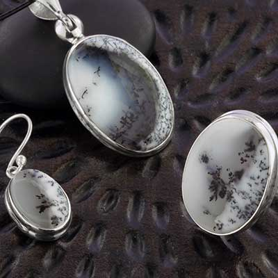 Silver and Oval Dendritic Agate Jewelry