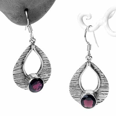 Silver and Alexandrite Textured Teardrop Earrings